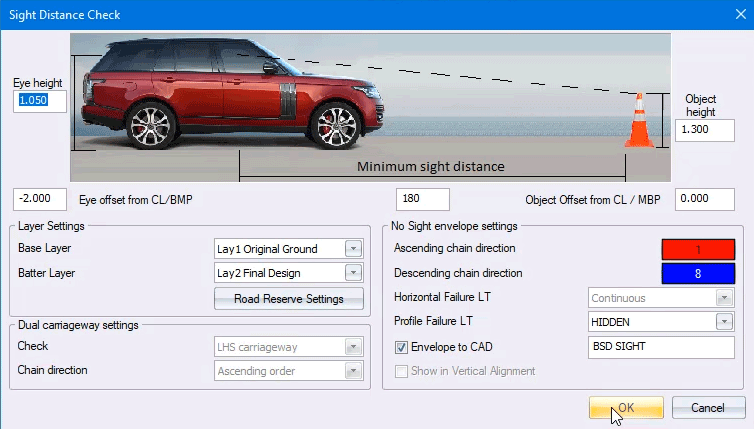 sight distance checking in CIVIL DESIGNER software